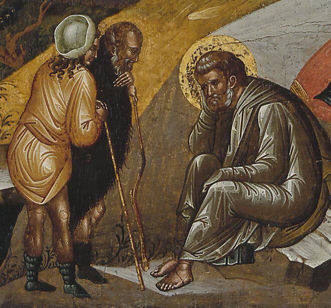 """Icône crétoise : """"LE DOUTE DE JOSEPH"""". Détail d'une nativité, école créto-vénitienne, entre 1480 et 1500. Musée des Beaux-Arts de la Ville de Paris, Petit Palais."""