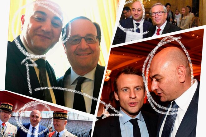 Mohamad Izzat Khatab with François Hollande, Emmanuel Macron, former European Commission boss Jean-Claude Juncker, and former chief of the defence staff in France General Jean-Louis Georgelin. © Photomontage Mediapart
