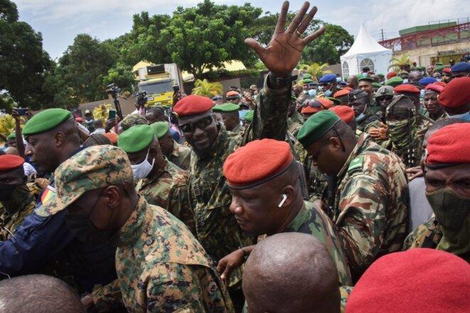 Le lieutenant-colonel Mamady Doumbouya à Conakry le 6 septembre 2021. © Cellou Binani/AFP