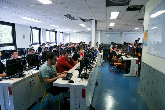 Une salle de classe de l'Epita, école privée d'enseignement supérieur en informatique, le 9 septembre 2019. © Photo Michel Stoupak / NurPhoto via AFP