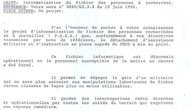 Livraison du fichier PRAS par la France © Officier français