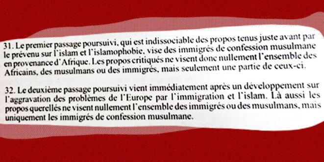 Extrait de la décision de la cour d'appel de Paris. © Sébastien Calvet/ Mediapart