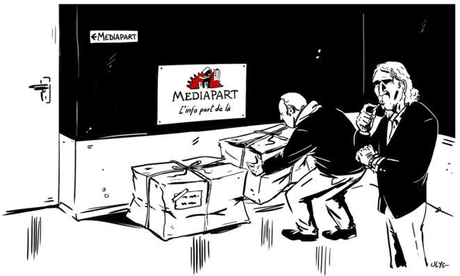 La livraison du «carton suisse» à Mediapart en novembre 2017. © Ulys