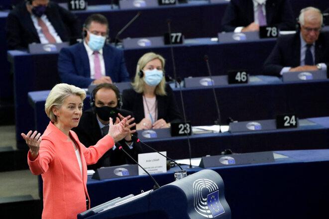 La présidente de la Commission européenne Ursula von der Leyen, au parlement européen à Strasbourg, le 15 septembre 2021. © Photo Yves Herman / Pool / AFP