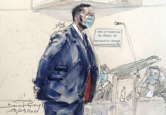 Alexandre Benalla au tribunal correctionnel de Paris le 13 septembre. © Dessin Benoit Peyrucq/AFP