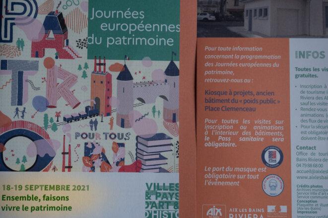 Brochure Journées européennes du patrimoine 2021 Aix-les-Bains © plbillot