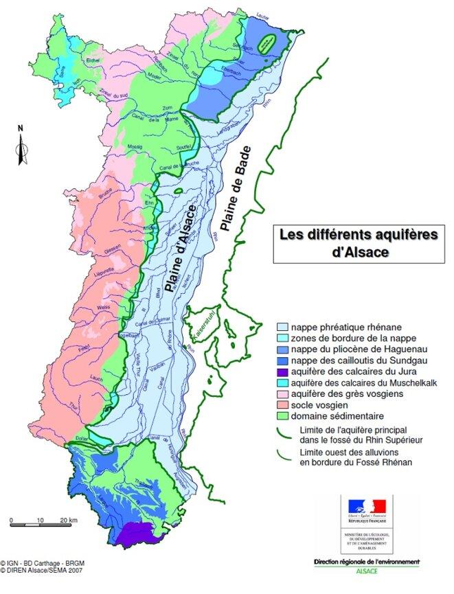 Différents aquifères d'Alsace © Carte DIREN-Alsace, 2007 Coll. Direction Régionale de l'Environnement
