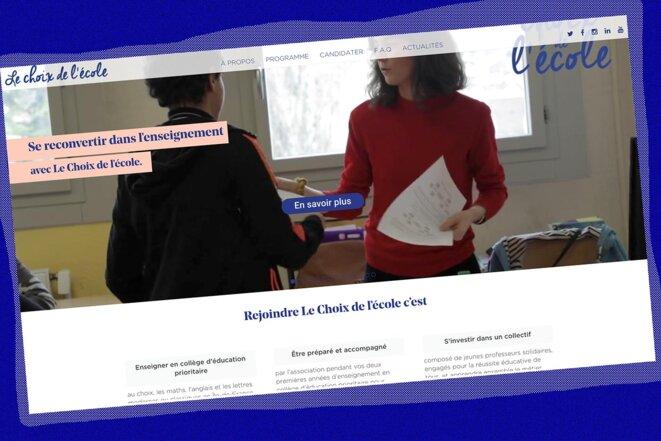 Capture d'écran du site Internet de l'association Le Choix de l'école.