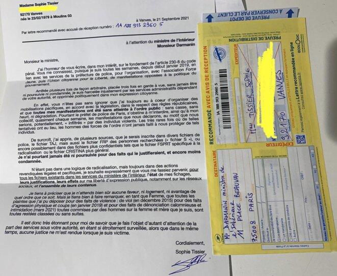 lettre à Darmanin envoyée en recommandé le 21 septembre 2021