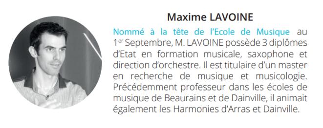 Nomination officielle de Maxime Lavoine en tant que Directeur de Musique d'Achicourt