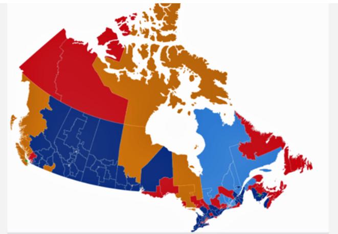 Canada carte des résultats fédérales 20 septembre 2021 © PC