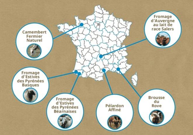 La carte des fromages sentinelles Slow Food en France