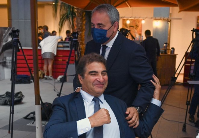 Xavier Bertrand et Christian Jacob, en septembre à Nîmes. © Pascal Guyot / AFP