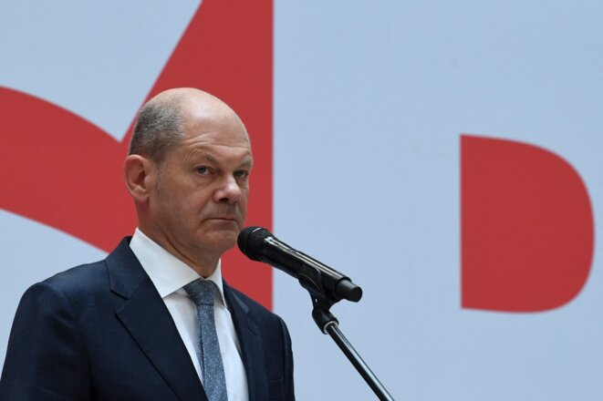 Olaf Scholz au quartier général de son parti, le 27 septembre. © Christof Stache / AFP