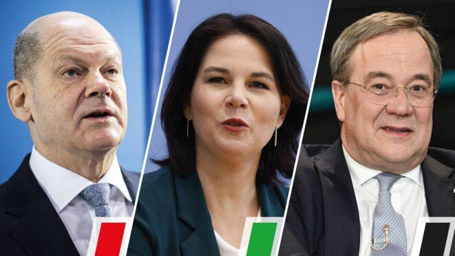 De gauche à droite: Olaf Scholz(SPD), Annalena Baerbock (Grünen), Armin Laschet (CDU)