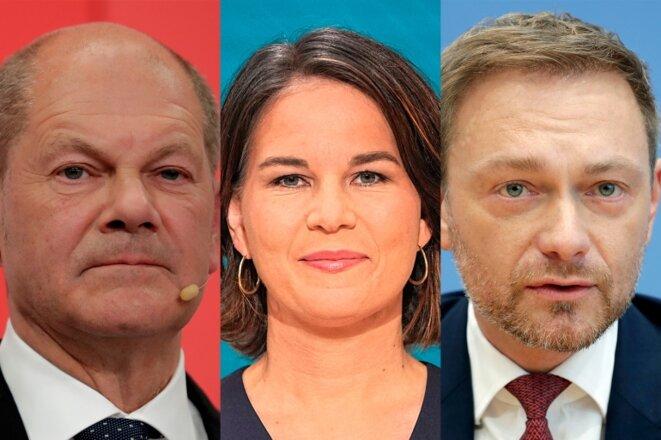 De g. à d: Olaf Scholz (SPD), Annalena Baerbock (Grünen), Christian Lindner (FDP)