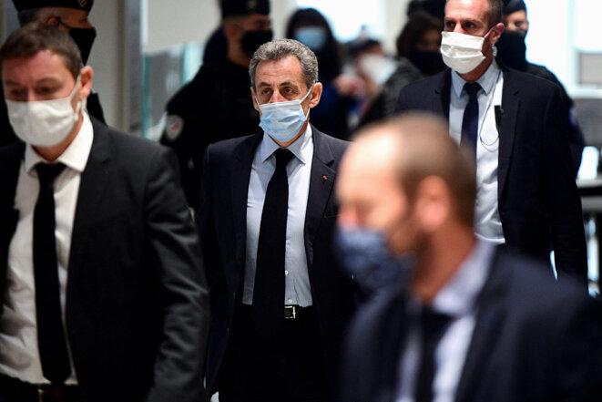 Nicolas Sarkozy au palais de justice de Paris, le 8 décembre 2020. © Photo Martin Bureau / AFP