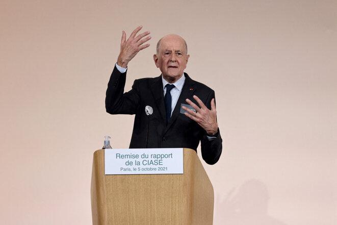Jean-Marc Sauvé, président de la Ciase, la commission indépendante sur les abus sexuels dans l'église, lors de la présentation de son rapport, à Paris, le 5 octobre 2021. © Photo Thomas Coex / AFP