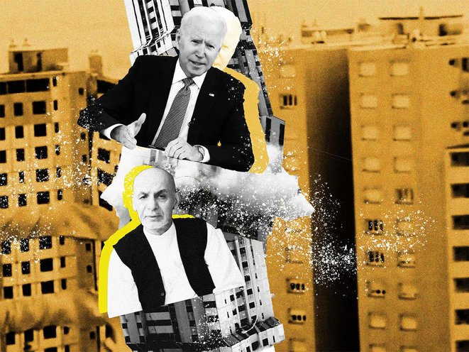 Joe Biden et Ashraf Ghani vacillent sur les tremblements du «State building». © Photo illustration Sébastien Calvet / Mediapart