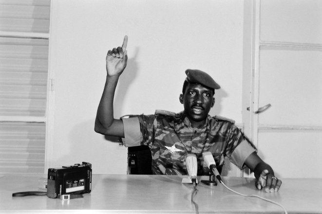 Sankara, président du Burkina Faso, en août 1986. © Eric Congo / AFP