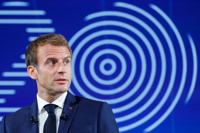 Emmanuel Macron lors de la présentation de France 2030, le 12 octobre 2021 à l'Élysée. © Photo Ludovic Marin / Pool / AFP