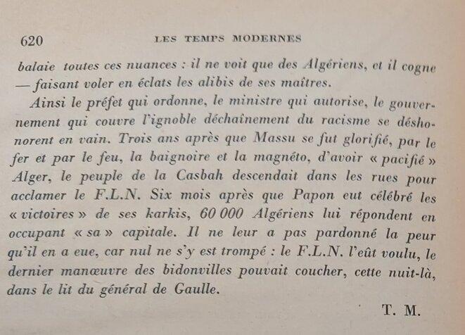 Article des Temps Modernes de novembre 1961 © Les Temps Modernes