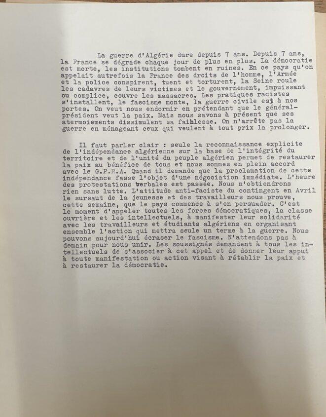 Article de Claude Lanzmann sur le 17 octobre © ACFL