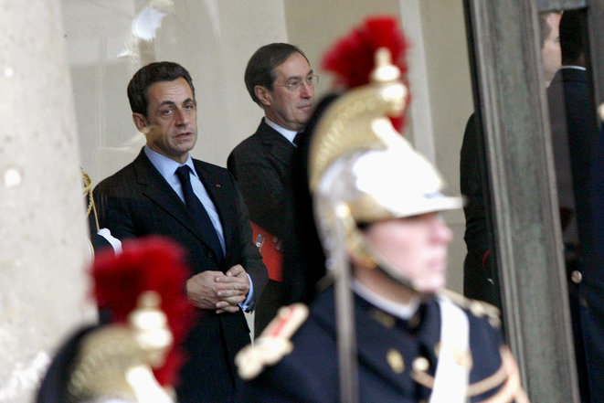 Sarkozy et Guéant à l'Élysée, en 2007. © Photo Sébastien Calvet / Mediapart
