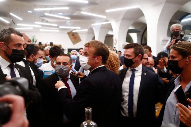 Le chef de l'Etat à Marseille, le 15 octobre 2021. © Guillaume HORCAJUELO / POOL / AFP