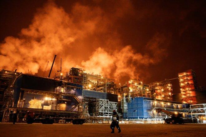 Usine de liquéfaction du gaz sur le site Yamal LNG, en Sibérie (Russie), le 7 décembre 2017. © Maxim ZMEYEV / AFP