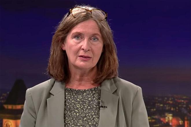 Elke Kahr lors d'une interview sur la chaîne de télévision publique Autrichienne ORF, en septembre 2021. © Capture d'écran ORF