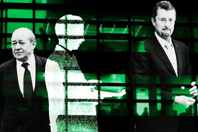 Jean-Yves Le Drian, l'espion, et Bernard Bajolet, ex-patron de la DGSE. © Photo illustration Sébastien Calvet / Mediapart