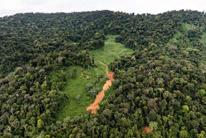 """Vue aérienne du site de la """"Montagne d'Or"""" en Guyane en 2017, juste avant son exploitation par la société internationale Nordgold. © Photo Jody Amiet / AFP"""