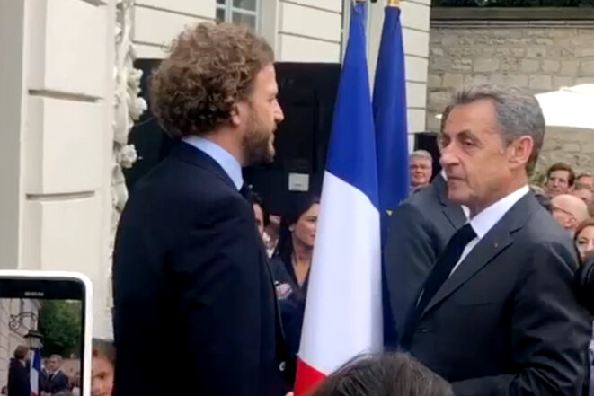 David Layani lors de la remise de la médaille de l'ordre national du Mérite par Nicolas Sarkozy en compagnie de Gérald Darmanin en 2019.