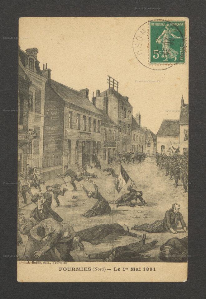 """E. Glair-Guyot, """"Gravure de la fusillade du 1er mai 1891 à Fourmies,"""" L'Armarium, consulté le 23 octobre 2021. Source: www.armarium-hautsdefrance.fr/document/23006."""