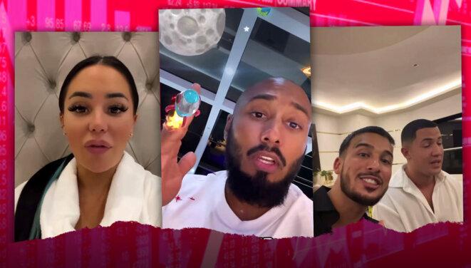Milla Jasmine, Marc Blata, et Laurent Billionaire : des influenceurs qui font la promotion du trading en ligne depuis Dubaï. © Photomontage Yanis Yahia-Berrouiguet / Bondy Blog