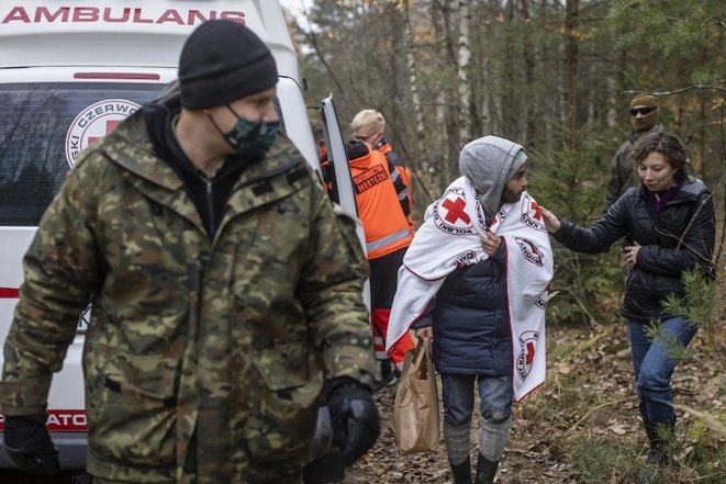 À la frontière entre la Pologne et la Biélorussie, octobre 2021. © Wojtek Radwanski / AFP