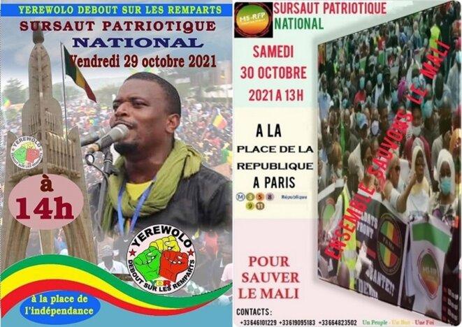 Des manifestations de soutien aux autorités de la Transition, prévues simultanément le 29 octobre à Bamako et le 30 octobre à Paris