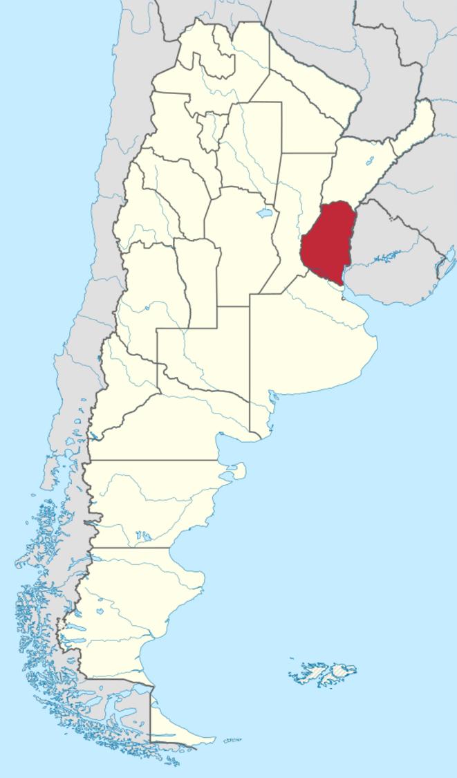 La province argentine d'Entre Rios (en rouge). © Wikipedia