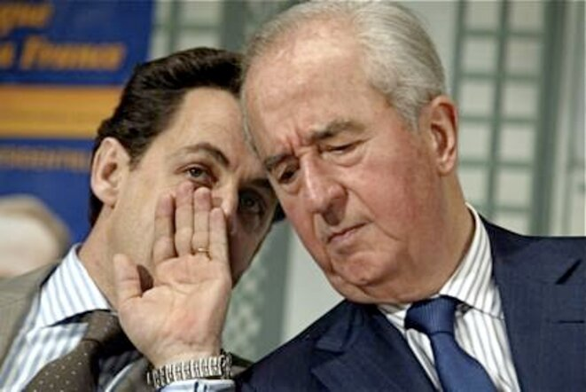 Don't read my lips: Nicolas Sarkozy and Edouard Balladur. © Reuters