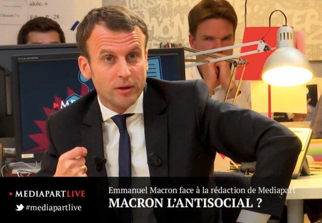 Emmanuel Macron face à la rédaction de Mediapart