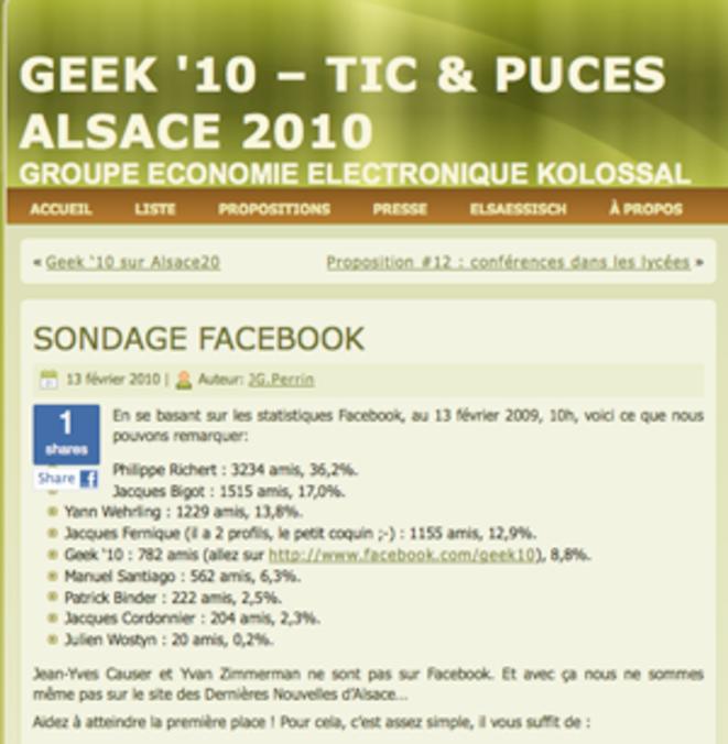 Geek 10 propose un «sondage d'opinion» basé sur le nombre d'amis Facebook. © Geek 10