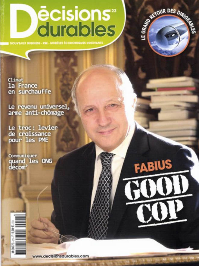 Laurent Fabius en couverture du magazine Décisions Durables (juin 2015).