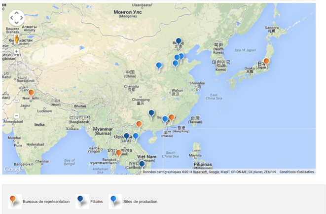 Carte des sites d'EDF en Asie.