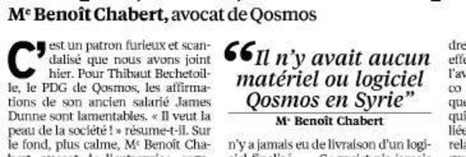 Propos de l'avocat de Qosmos