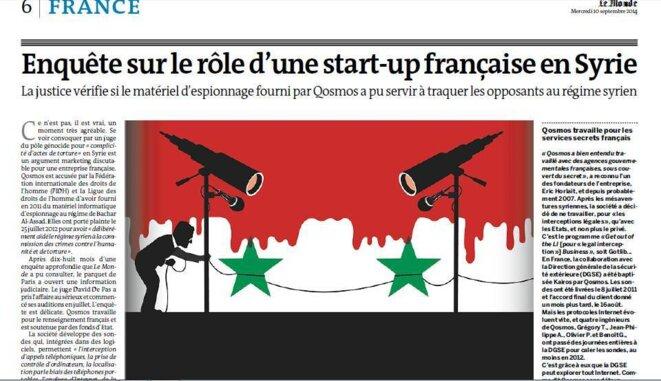 Enquête sur le rôle d'une start-up française en Syrie  © Le Monde du 10 septembre 2014