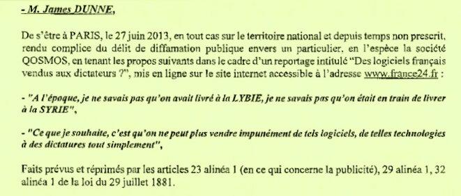 """Mise en examen pour """"Diffamation""""  © Qosmos"""