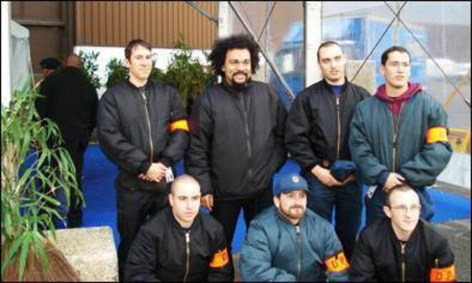 Dieudonné with the DPS, National Front's security staff