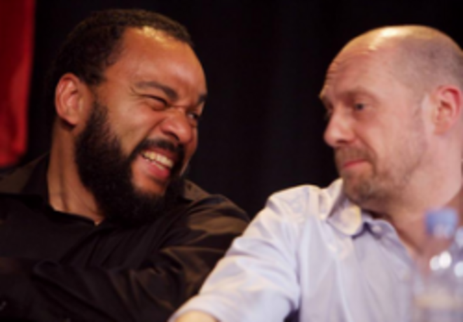 Dieudonné and Soral, laughing. Which one has just made a good anti-system joke about gas chambers ?