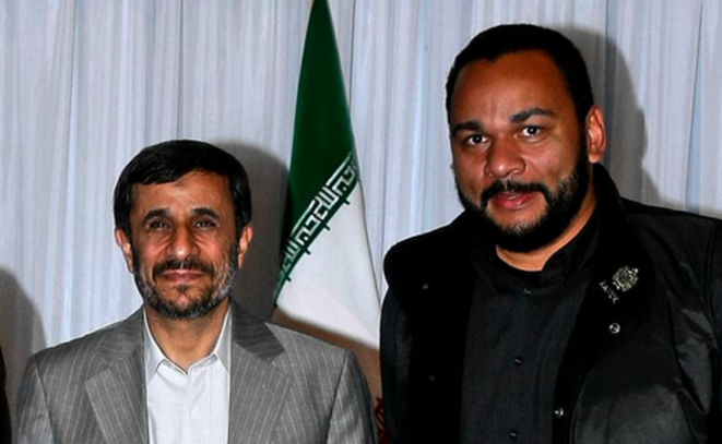 Dieudonné with Ahmadinejad. I don't know which system he is anti, but it is obviously not the Islamist dictatureship